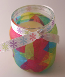 Tissue Paper Jar Candle for Mother's Day