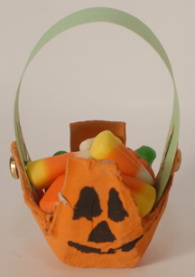 pumpkin egg carton treat holder