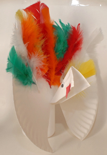 Turkey plate with feathers