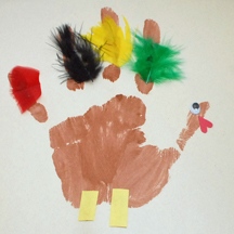 Handprint turkey with feathers